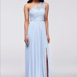 Ice Blue David's Bridal one shoulder dress NWT